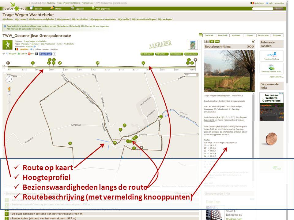 Route op kaart Hoogteprofiel Bezienswaardigheden langs de route Routebeschrijving (met vermelding knooppunten)
