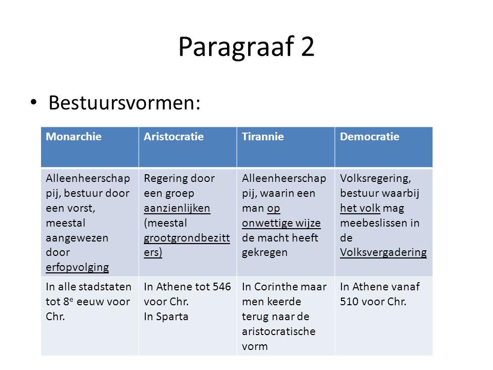 Paragraaf 2 Bestuursvormen: MonarchieAristocratieTirannieDemocratie Alleenheerschap pij, bestuur door een vorst, meestal aangewezen door erfopvolging