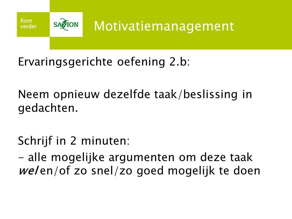 Motivatiemanagement Ervaringsgerichte oefening 2.b: Neem opnieuw dezelfde taak/beslissing in gedachten. Schrijf in 2 minuten: - alle mogelijke argumen