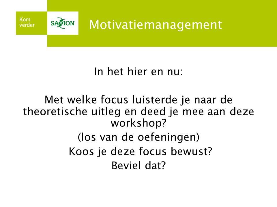 Motivatiemanagement In het hier en nu: Met welke focus luisterde je naar de theoretische uitleg en deed je mee aan deze workshop? (los van de oefening