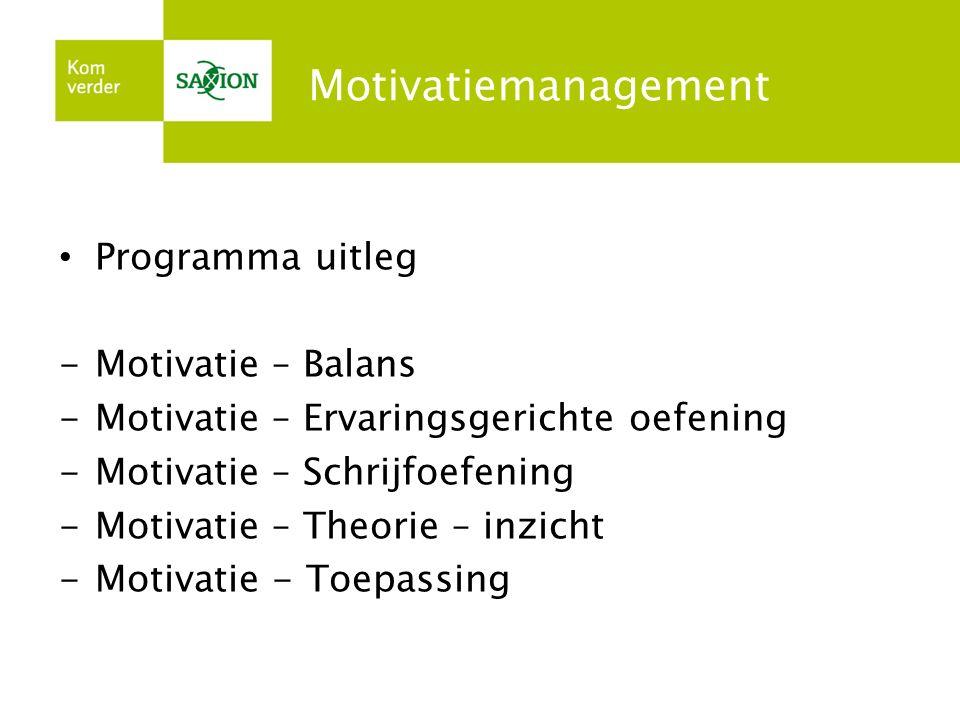 Motivatiemanagement Programma uitleg -Motivatie – Balans -Motivatie – Ervaringsgerichte oefening -Motivatie – Schrijfoefening -Motivatie – Theorie – i