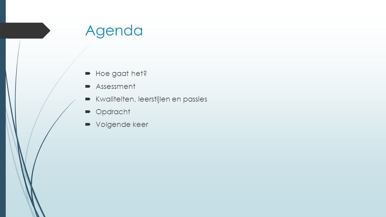 Agenda  Hoe gaat het?  Assessment  Kwaliteiten, leerstijlen en passies  Opdracht  Volgende keer