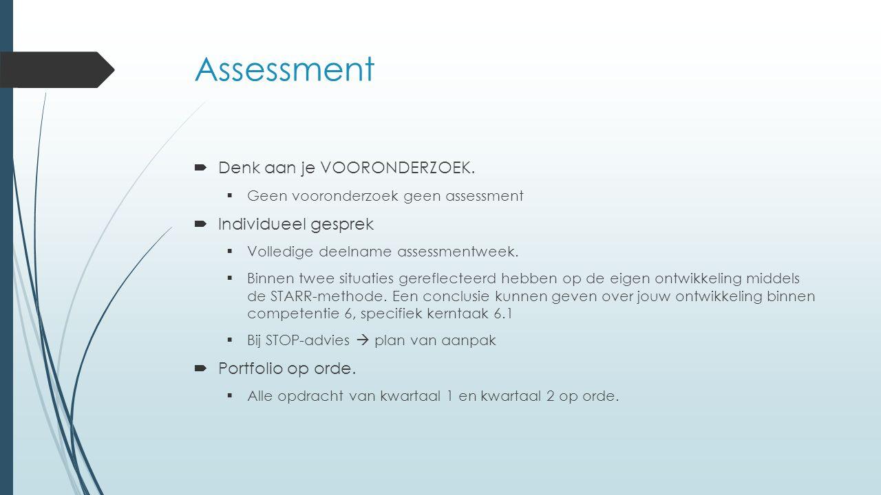 Assessment  Denk aan je VOORONDERZOEK.  Geen vooronderzoek geen assessment  Individueel gesprek  Volledige deelname assessmentweek.  Binnen twee