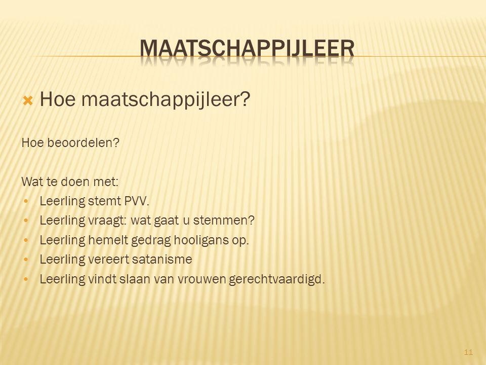  Hoe maatschappijleer.Hoe beoordelen. Wat te doen met: Leerling stemt PVV.