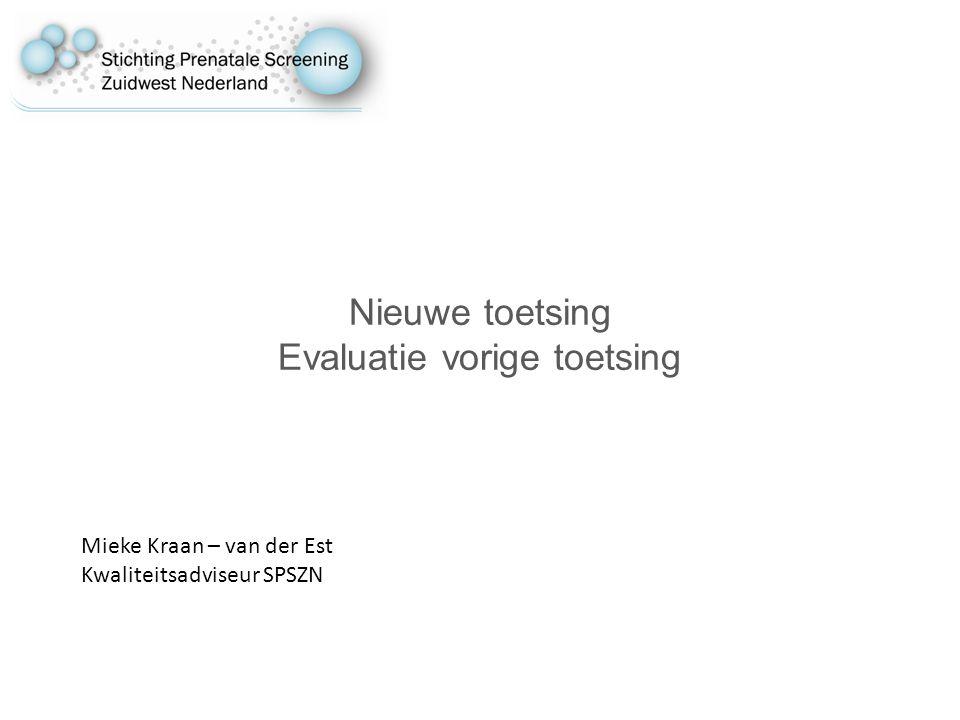 Nieuwe toetsing Evaluatie vorige toetsing Mieke Kraan – van der Est Kwaliteitsadviseur SPSZN