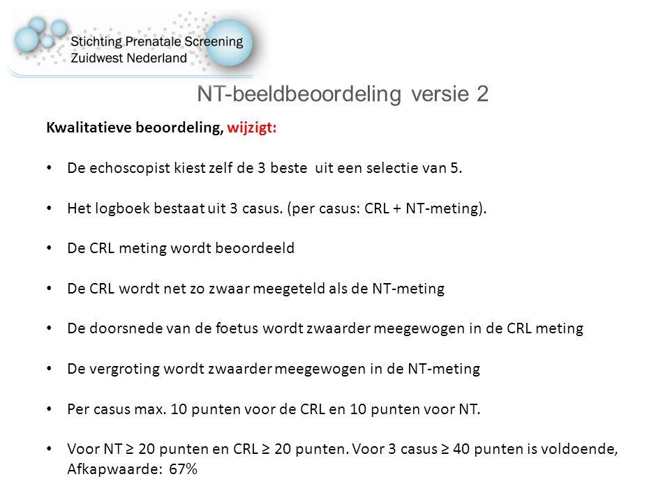 NT-beeldbeoordeling versie 2 Kwalitatieve beoordeling, wijzigt: De echoscopist kiest zelf de 3 beste uit een selectie van 5.
