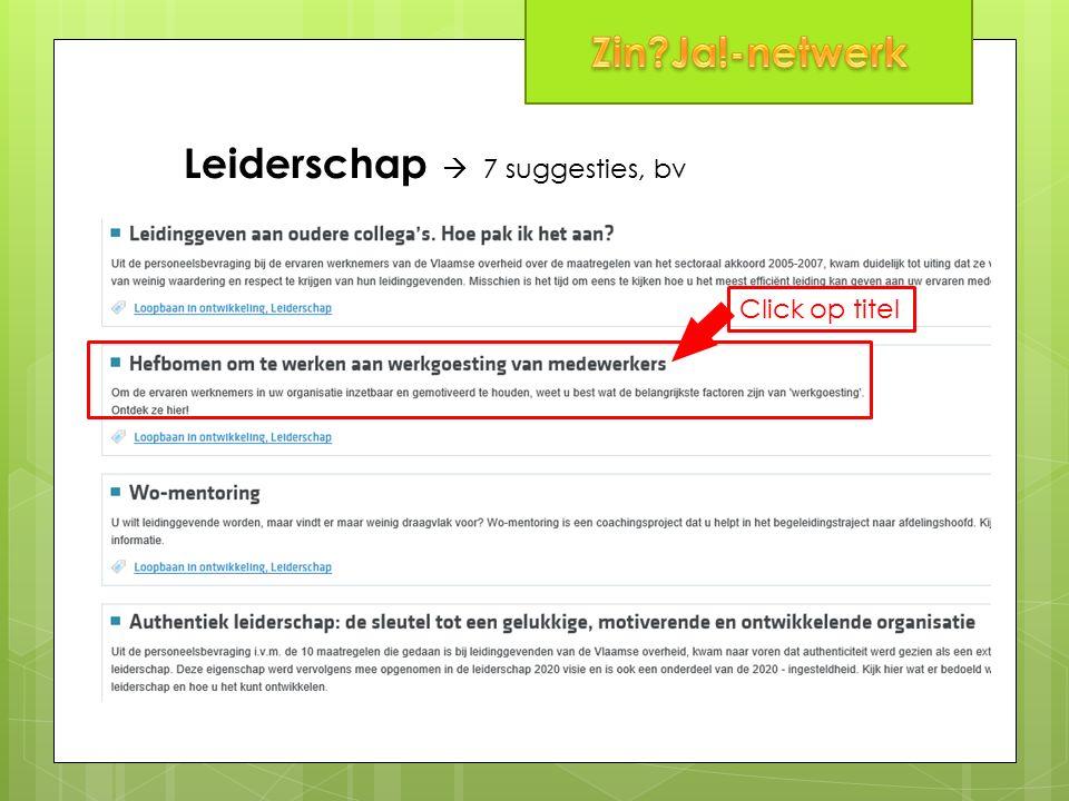 Leiderschap  7 suggesties, bv Click op titel