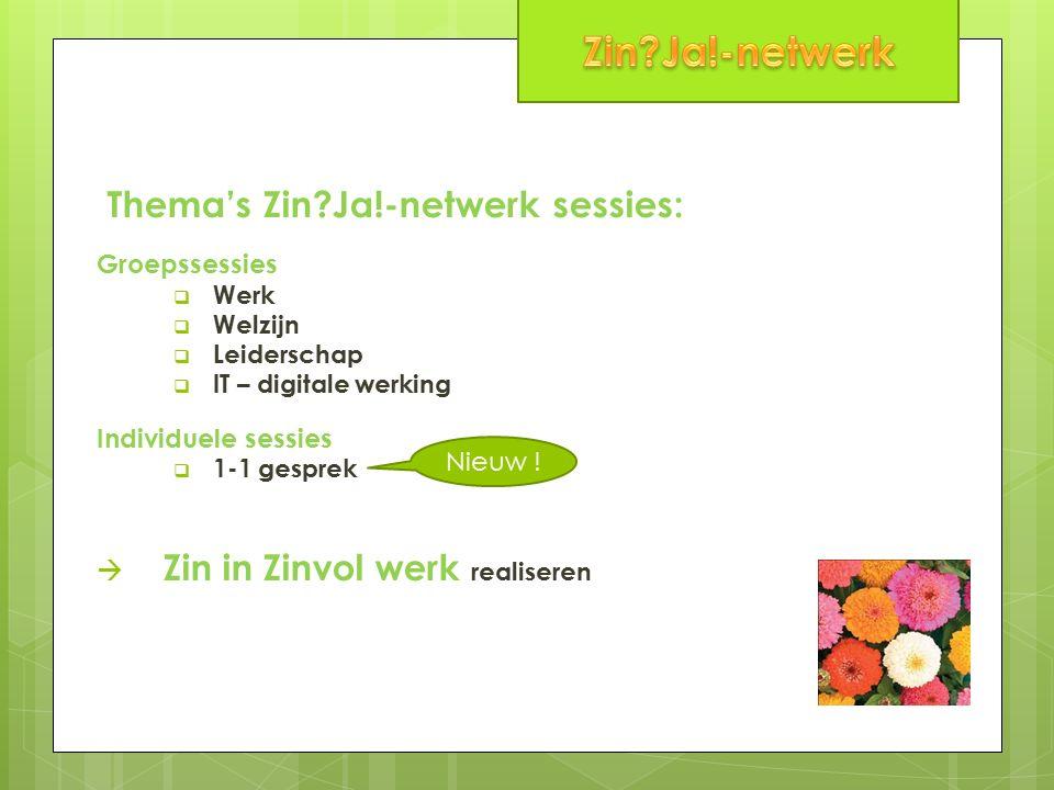 Thema's Zin Ja!-netwerk sessies: Groepssessies  Werk  Welzijn  Leiderschap  IT – digitale werking Individuele sessies  1-1 gesprek  Zin in Zinvol werk realiseren Nieuw !