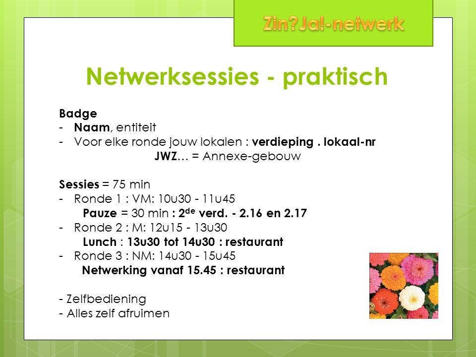 Netwerksessies - praktisch Badge - Naam, entiteit -Voor elke ronde jouw lokalen : verdieping. lokaal-nr JWZ … = Annexe-gebouw Sessies = 75 min -Ronde