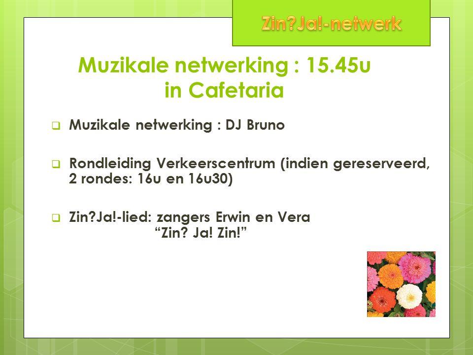 Muzikale netwerking : 15.45u in Cafetaria  Muzikale netwerking : DJ Bruno  Rondleiding Verkeerscentrum (indien gereserveerd, 2 rondes: 16u en 16u30)  Zin Ja!-lied: zangers Erwin en Vera Zin.