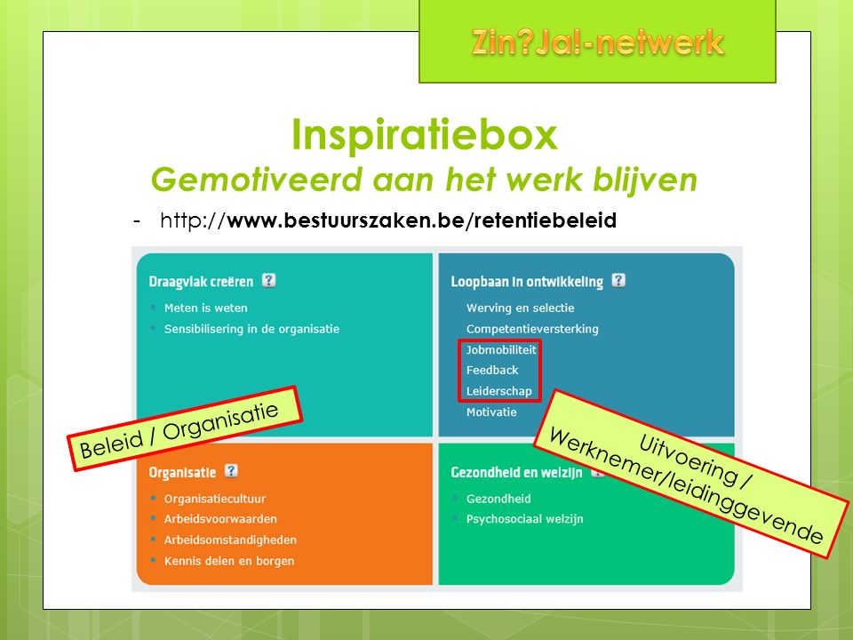 Inspiratiebox Gemotiveerd aan het werk blijven -http:// www.bestuurszaken.be/retentiebeleid Beleid / Organisatie Uitvoering / Werknemer/leidinggevende
