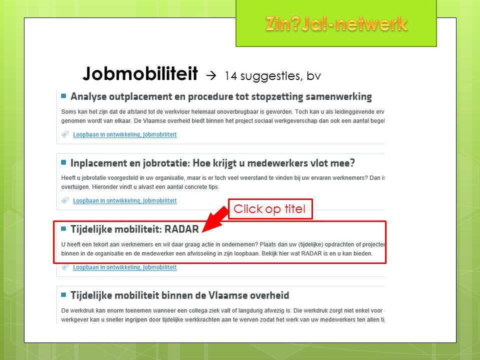 Jobmobiliteit  14 suggesties, bv Click op titel