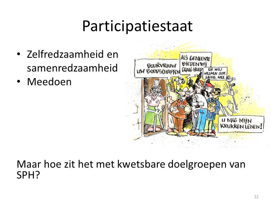 Participatiestaat Zelfredzaamheid en samenredzaamheid Meedoen Maar hoe zit het met kwetsbare doelgroepen van SPH? 12
