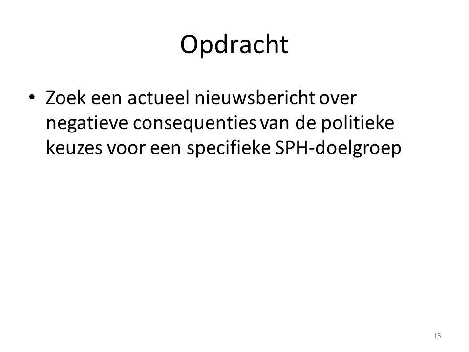 Opdracht Zoek een actueel nieuwsbericht over negatieve consequenties van de politieke keuzes voor een specifieke SPH-doelgroep 13