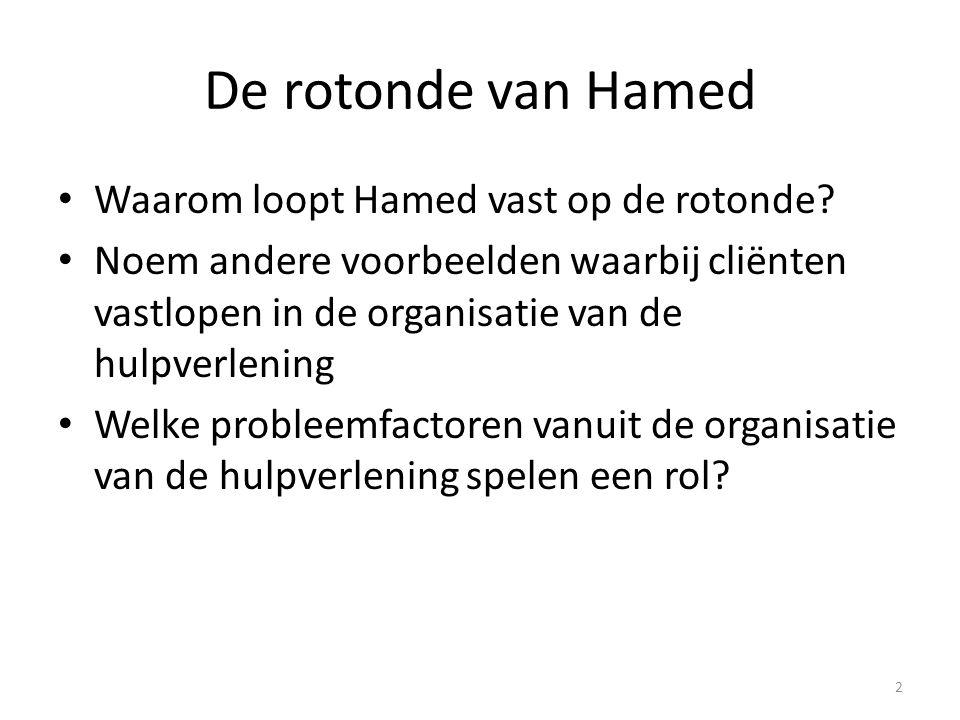 De rotonde van Hamed Waarom loopt Hamed vast op de rotonde? Noem andere voorbeelden waarbij cliënten vastlopen in de organisatie van de hulpverlening