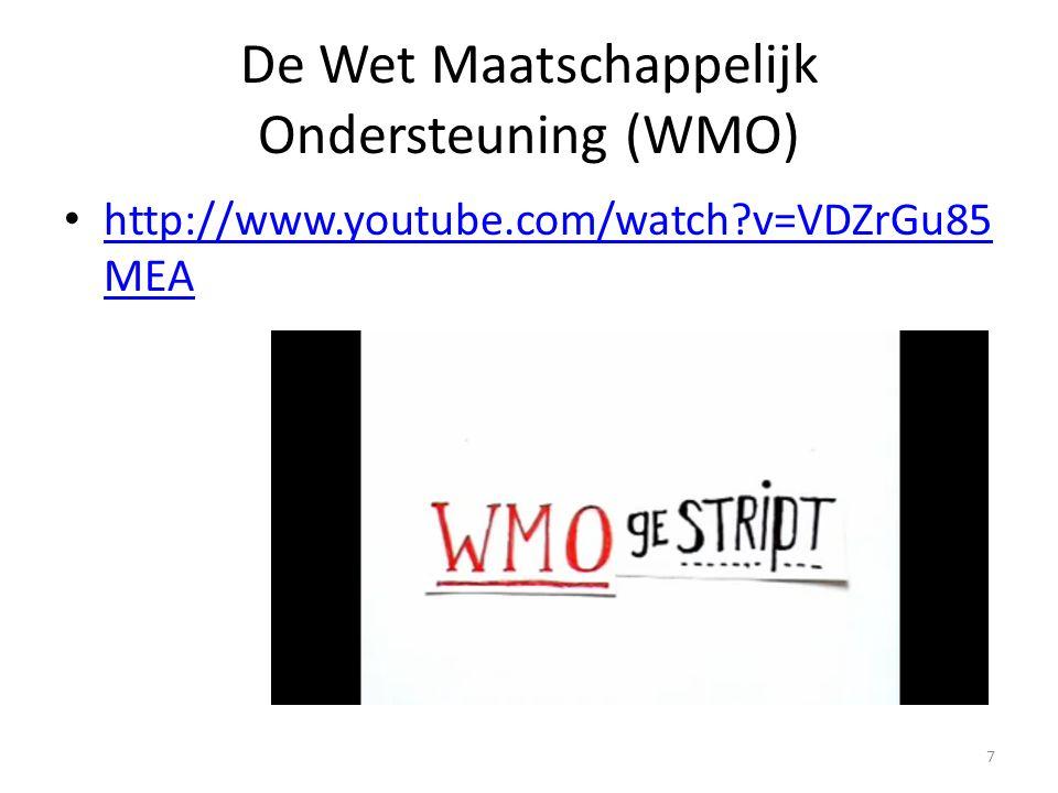 De Wet Maatschappelijk Ondersteuning (WMO) http://www.youtube.com/watch?v=VDZrGu85 MEA http://www.youtube.com/watch?v=VDZrGu85 MEA 7
