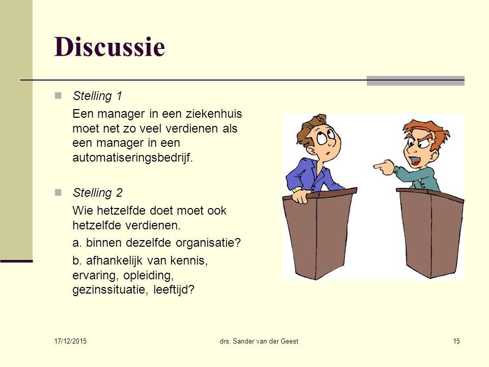 17/12/2015 drs. Sander van der Geest15 Discussie Stelling 1 Een manager in een ziekenhuis moet net zo veel verdienen als een manager in een automatise