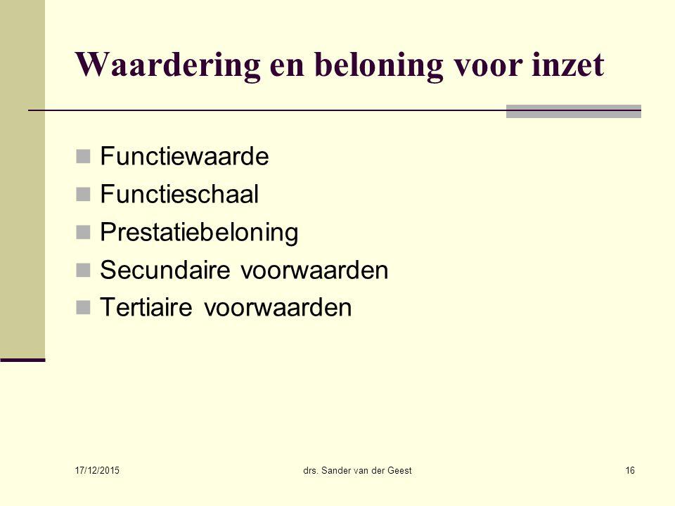 17/12/2015 drs. Sander van der Geest16 Waardering en beloning voor inzet Functiewaarde Functieschaal Prestatiebeloning Secundaire voorwaarden Tertiair