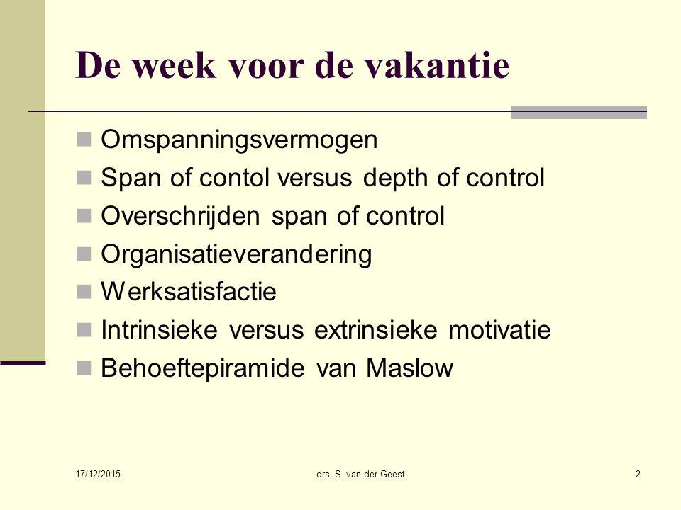 De week voor de vakantie Omspanningsvermogen Span of contol versus depth of control Overschrijden span of control Organisatieverandering Werksatisfact
