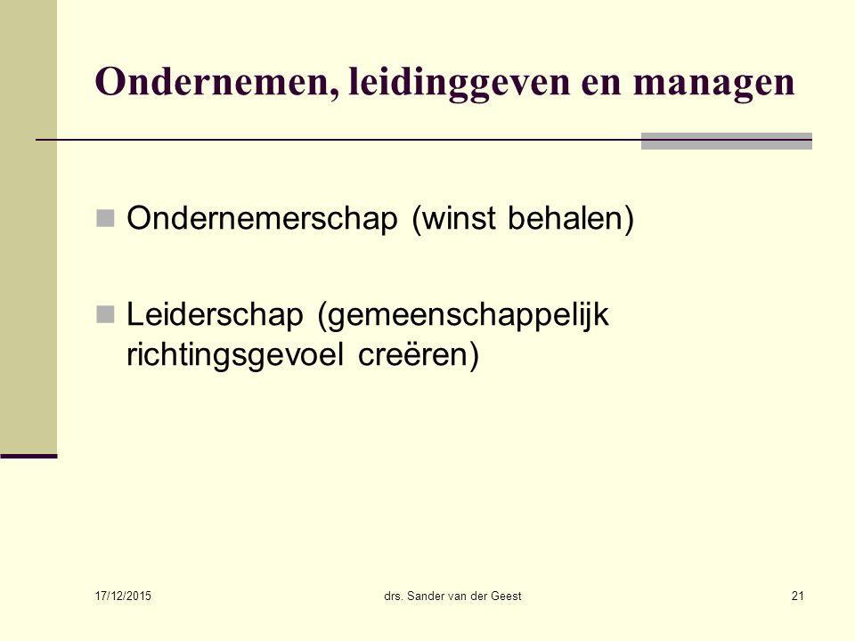 17/12/2015 drs. Sander van der Geest21 Ondernemen, leidinggeven en managen Ondernemerschap (winst behalen) Leiderschap (gemeenschappelijk richtingsgev