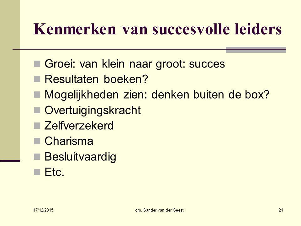17/12/2015 drs. Sander van der Geest24 Kenmerken van succesvolle leiders Groei: van klein naar groot: succes Resultaten boeken? Mogelijkheden zien: de