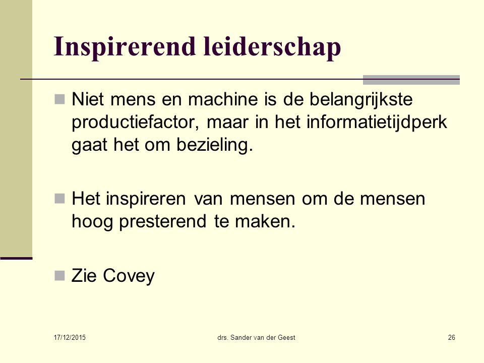 17/12/2015 drs. Sander van der Geest26 Inspirerend leiderschap Niet mens en machine is de belangrijkste productiefactor, maar in het informatietijdper
