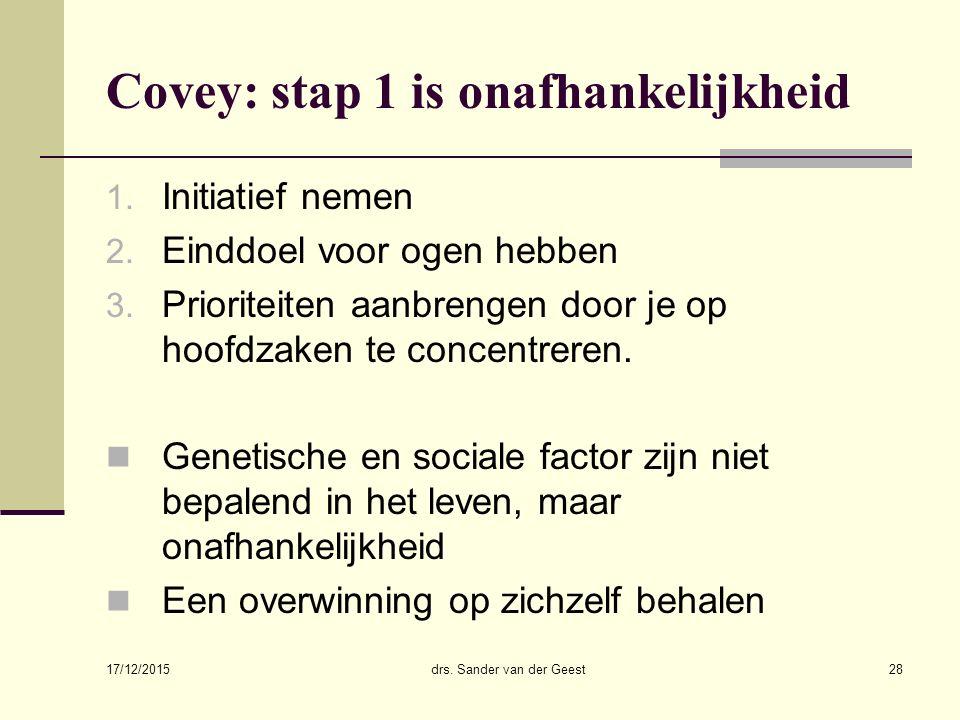 17/12/2015 drs. Sander van der Geest28 Covey: stap 1 is onafhankelijkheid 1. Initiatief nemen 2. Einddoel voor ogen hebben 3. Prioriteiten aanbrengen