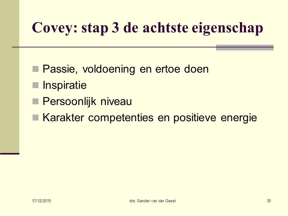 17/12/2015 drs. Sander van der Geest30 Covey: stap 3 de achtste eigenschap Passie, voldoening en ertoe doen Inspiratie Persoonlijk niveau Karakter com