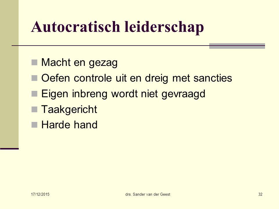 17/12/2015 drs. Sander van der Geest32 Autocratisch leiderschap Macht en gezag Oefen controle uit en dreig met sancties Eigen inbreng wordt niet gevra