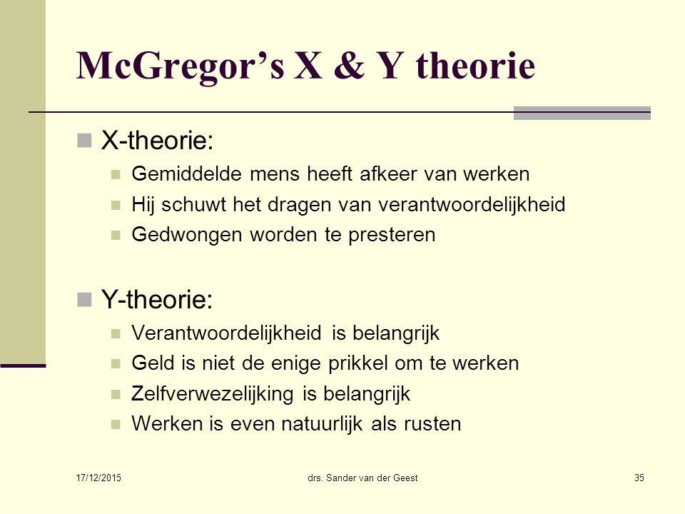 17/12/2015 drs. Sander van der Geest35 McGregor's X & Y theorie X-theorie: Gemiddelde mens heeft afkeer van werken Hij schuwt het dragen van verantwoo