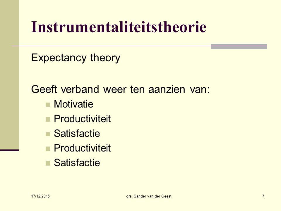 17/12/2015 drs. Sander van der Geest7 Instrumentaliteitstheorie Expectancy theory Geeft verband weer ten aanzien van: Motivatie Productiviteit Satisfa
