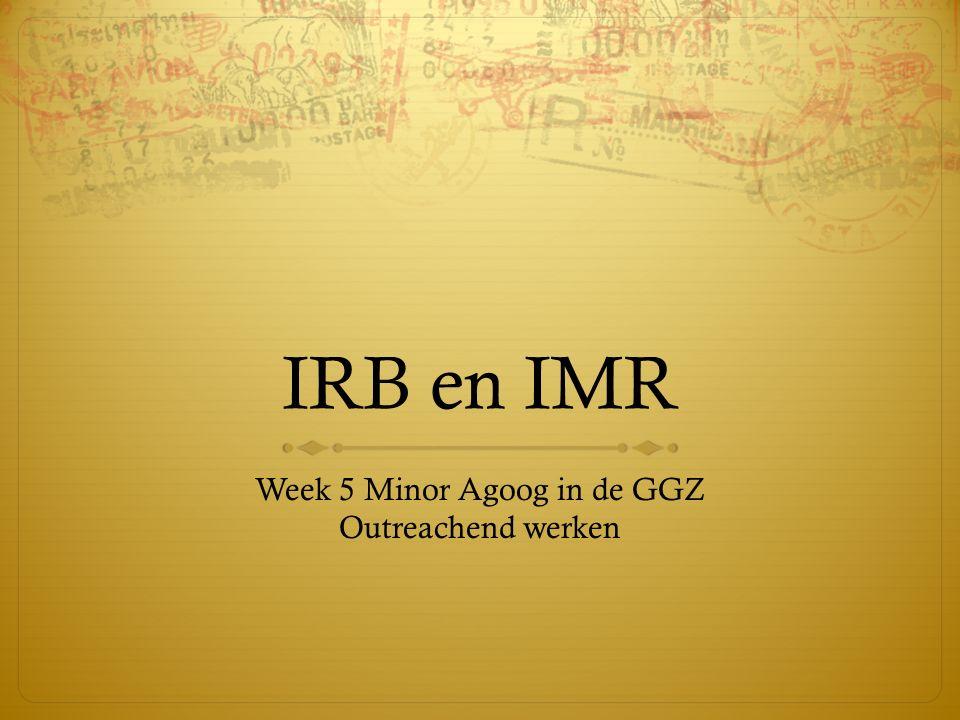 IRB en IMR Week 5 Minor Agoog in de GGZ Outreachend werken