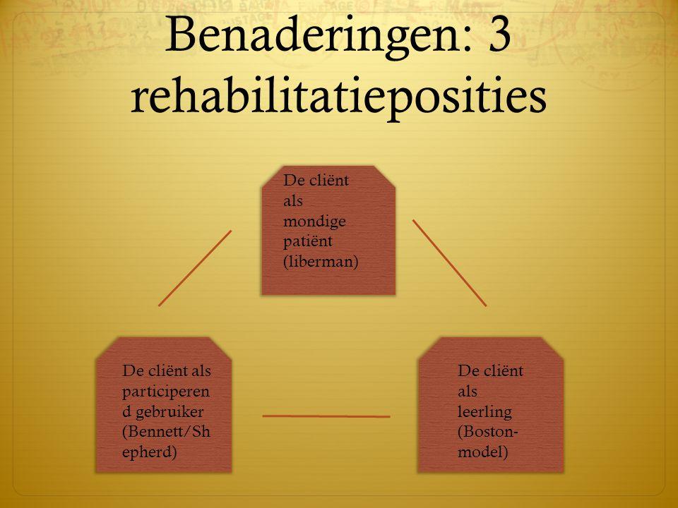 Benaderingen: 3 rehabilitatieposities De cliënt als mondige patiënt (liberman) De cliënt als participeren d gebruiker (Bennett/Sh epherd) De cliënt al