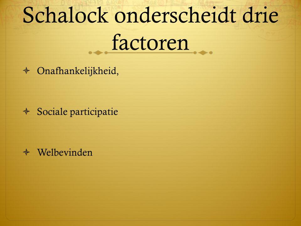 Schalock onderscheidt drie factoren  Onafhankelijkheid,  Sociale participatie  Welbevinden