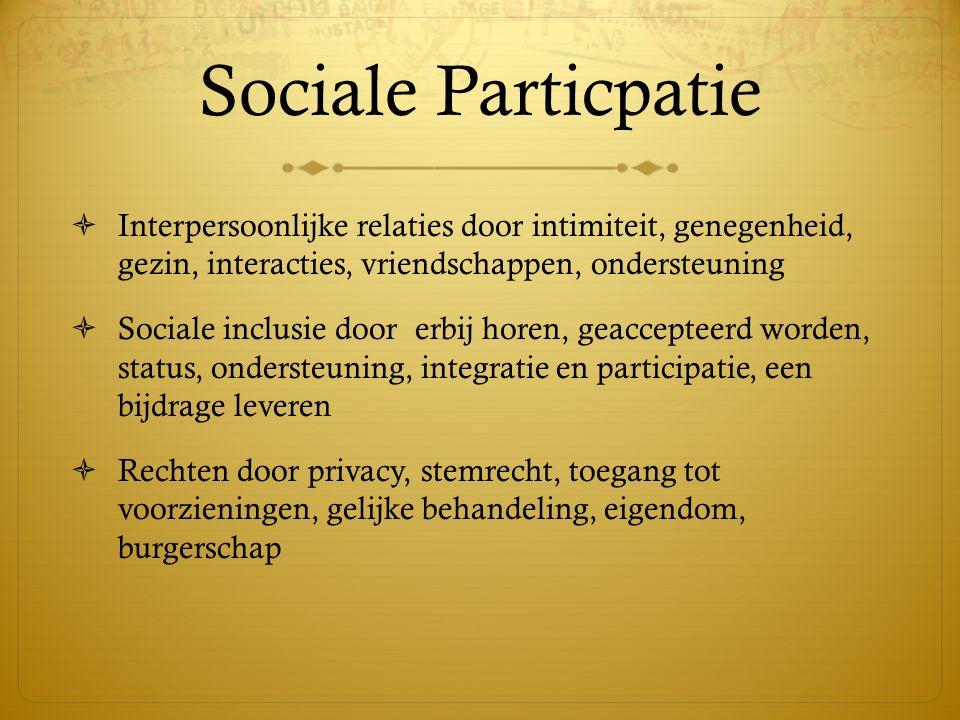 Sociale Particpatie  Interpersoonlijke relaties door intimiteit, genegenheid, gezin, interacties, vriendschappen, ondersteuning  Sociale inclusie do