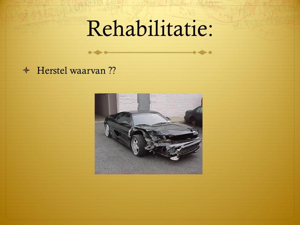 Rehabilitatie:  Herstel waarvan ??