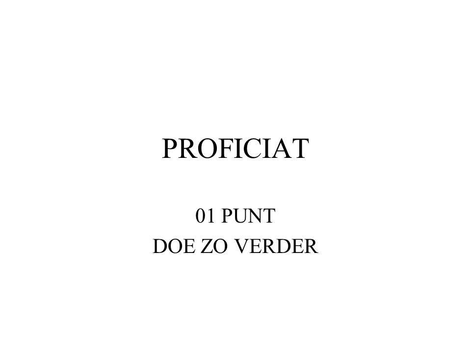 PROFICIAT 01 PUNT DOE ZO VERDER