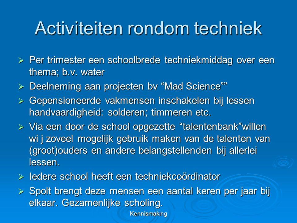 Activiteiten rondom techniek  Per trimester een schoolbrede techniekmiddag over een thema; b.v.