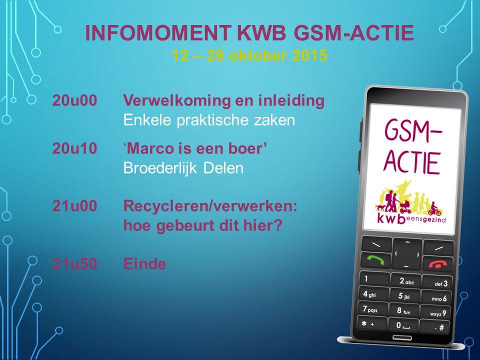 INFOMOMENT KWB GSM-ACTIE 12 – 29 oktober 2015 20u00Verwelkoming en inleiding Enkele praktische zaken 20u10'Marco is een boer' Broederlijk Delen 21u00R