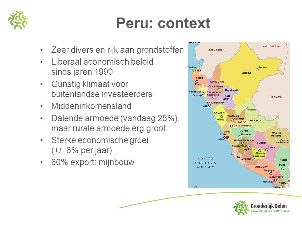 Peru: context Zeer divers en rijk aan grondstoffen Liberaal economisch beleid sinds jaren 1990 Gunstig klimaat voor buitenlandse investeerders Middeni