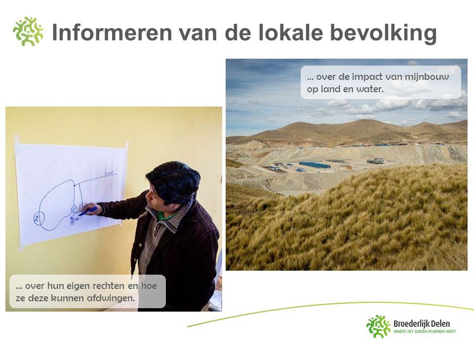 Informeren van de lokale bevolking … over de impact van mijnbouw op land en water. … over hun eigen rechten en hoe ze deze kunnen afdwingen.