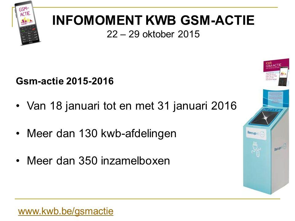 INFOMOMENT KWB GSM-ACTIE 22 – 29 oktober 2015 Praktisch voor deelnemende afdelingen Folders, affiches en dvd Aanpasbare flyer op www.kwb.be/gsmactiewww.kwb.be/gsmactie Plaatsen box doorsturen voor op site naar gsmactie@kwb.be gsmactie@kwb.be Leveringsadres inzamelbox tegen 15 nov.