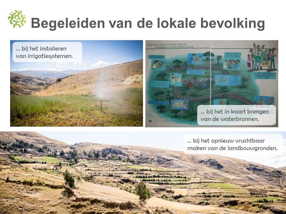 Begeleiden van de lokale bevolking … bij het in kaart brengen van de waterbronnen. … bij het opnieuw vruchtbaar maken van de landbouwgronden. … bij he