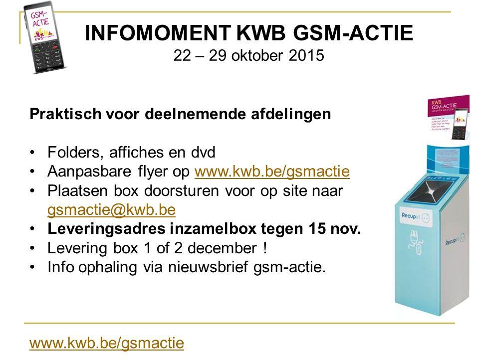 INFOMOMENT KWB GSM-ACTIE 22 – 29 oktober 2015 Praktisch voor deelnemende afdelingen Folders, affiches en dvd Aanpasbare flyer op www.kwb.be/gsmactieww