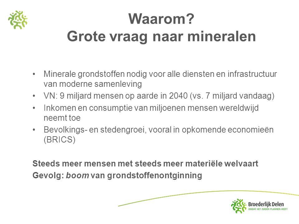 Waarom? Grote vraag naar mineralen Minerale grondstoffen nodig voor alle diensten en infrastructuur van moderne samenleving VN: 9 miljard mensen op aa