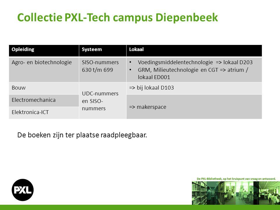 Collectie PXL-Tech campus Diepenbeek OpleidingSysteemLokaal Agro- en biotechnologieSISO-nummers 630 t/m 699 Voedingsmiddelentechnologie => lokaal D203 GRM, Milieutechnologie en CGT => atrium / lokaal ED001 Bouw UDC-nummers en SISO- nummers => bij lokaal D103 Electromechanica => makerspace Elektronica-ICT De boeken zijn ter plaatse raadpleegbaar.