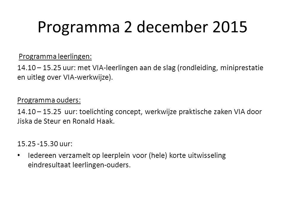 Programma 2 december 2015 Programma leerlingen: 14.10 – 15.25 uur: met VIA-leerlingen aan de slag (rondleiding, miniprestatie en uitleg over VIA-werkwijze).