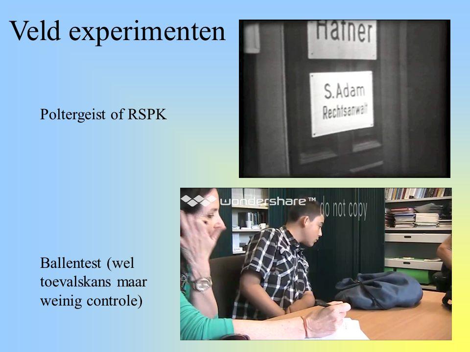 Veld experimenten Poltergeist of RSPK Ballentest (wel toevalskans maar weinig controle)