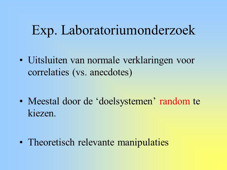 Exp. Laboratoriumonderzoek Uitsluiten van normale verklaringen voor correlaties (vs. anecdotes) Meestal door de 'doelsystemen' random te kiezen. Theor