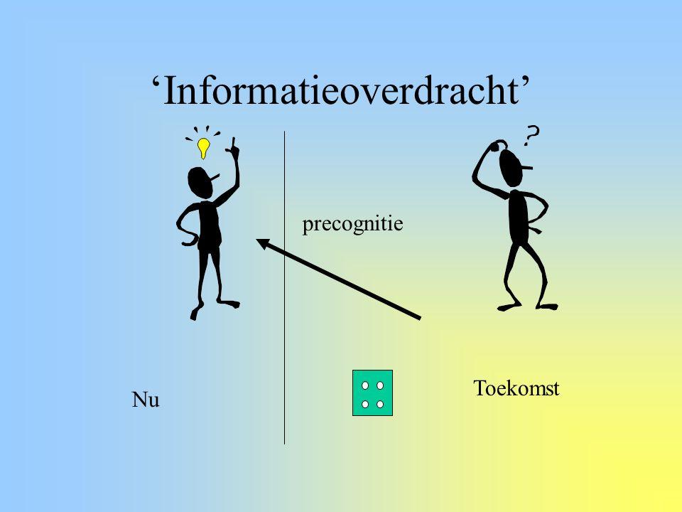 Recent: Bewust vs Onbewust Non intentional PK –Field RNG is doelsysteem –GCP (http://noosphere.princeton.edu) Onbewuste precognitie (presentiment) –Doelssysteem: toekomstige emotie –Fysiologie: Huidweerstand en hersenactiviteit